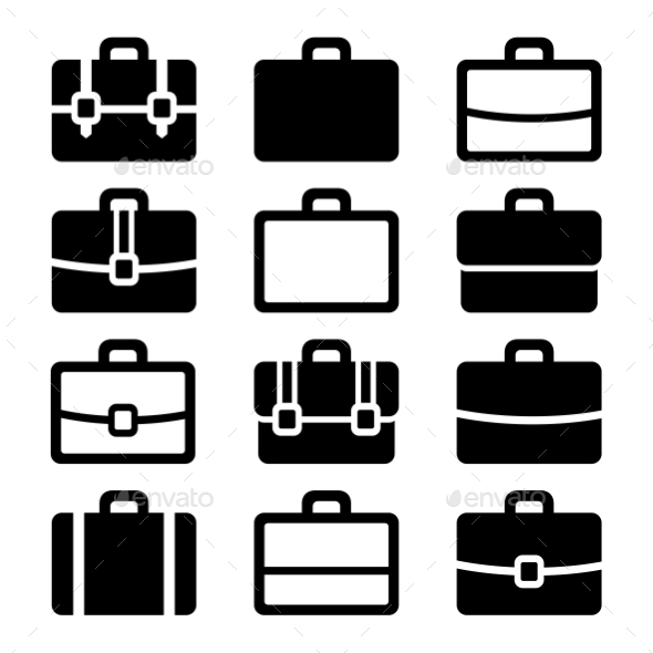 GraphicRiver Briefcase Icons Set On White Background Vector 11444062