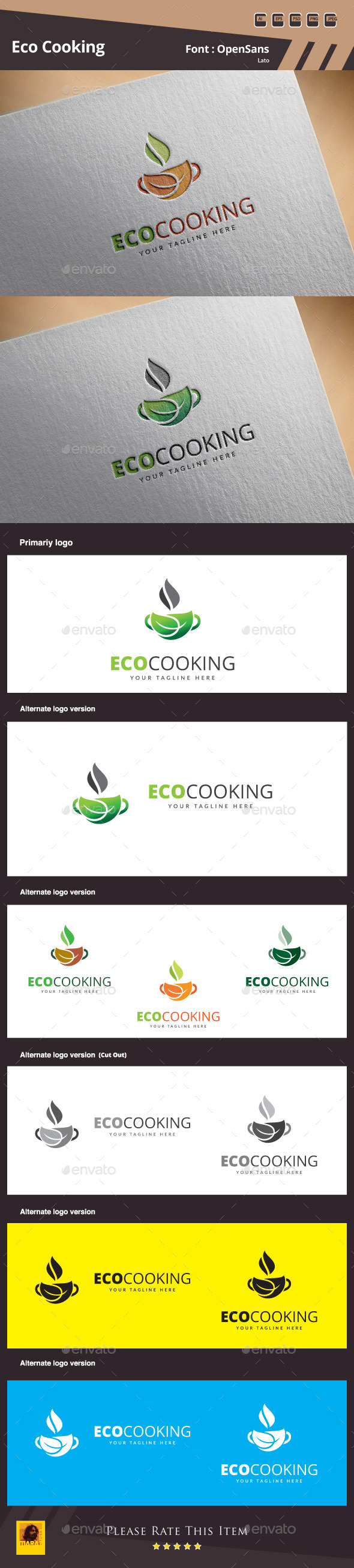 GraphicRiver Eco Cooking Logo Template 11444092