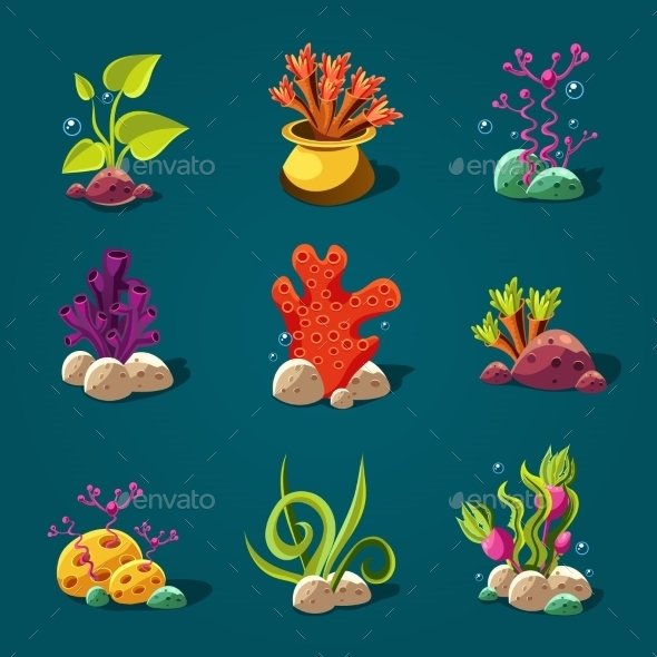 GraphicRiver Set Of Cartoon Algae Elements For Aquarium 11444094