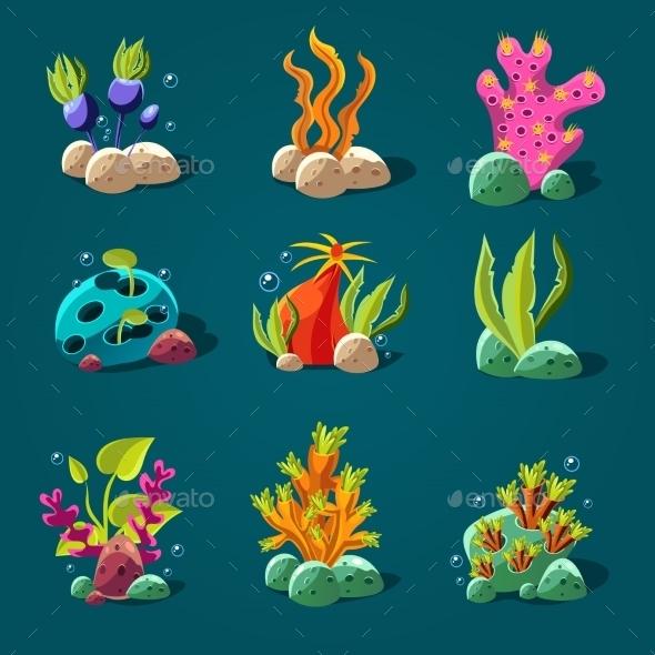 GraphicRiver Set Of Cartoon Algae Elements For Aquarium 11444096