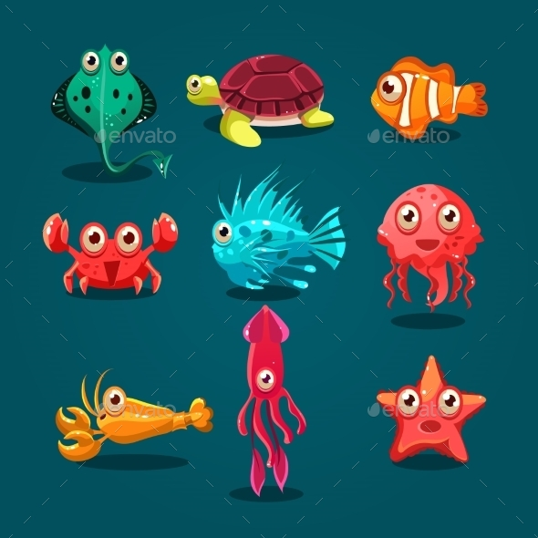 GraphicRiver Cute Sea Life Creatures Cartoon Animals Set 11444100