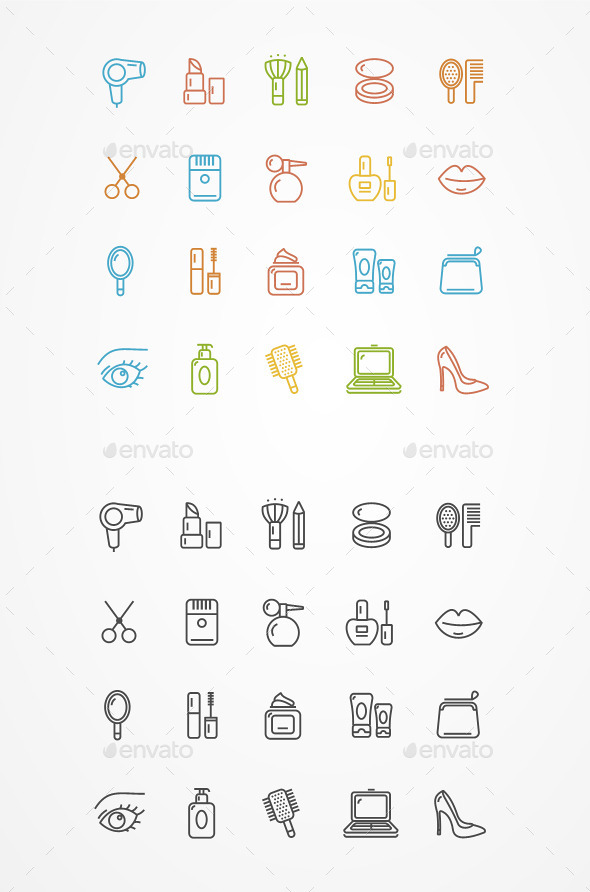 GraphicRiver Vector Beauty Outline Icon Set 11444101