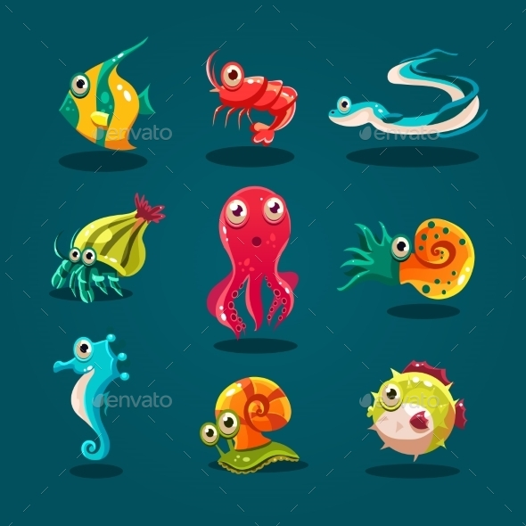 GraphicRiver Cute Sea Life Creatures Cartoon Animals Set 11444103