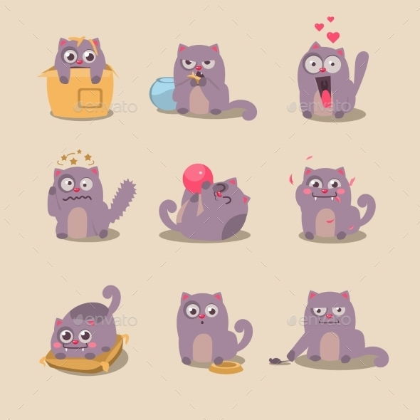 GraphicRiver Set Of Cute Cartoon Cat In Various Poses 11444104