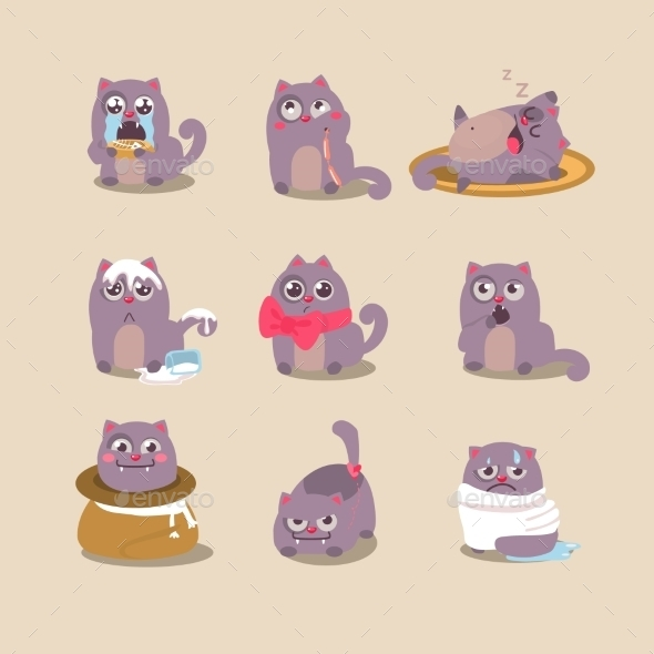 GraphicRiver Set Of Cute Cartoon Cat In Various Poses 11444107