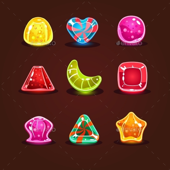 GraphicRiver Set Of Bright Cartoon Candies 11444109