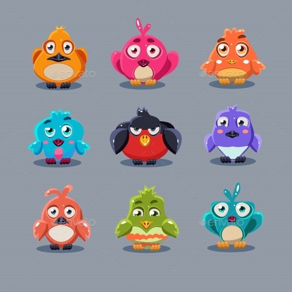 GraphicRiver Funny Cartoon Birds Vector Illustration 11444115