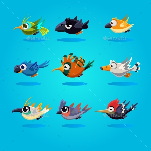 GraphicRiver Funny Cartoon Birds Vector Illustration 11444120