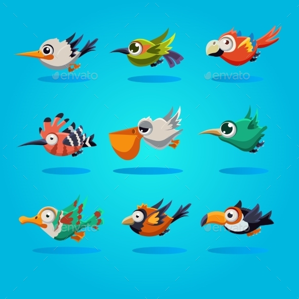 GraphicRiver Funny Cartoon Birds Vector Illustration 11444125