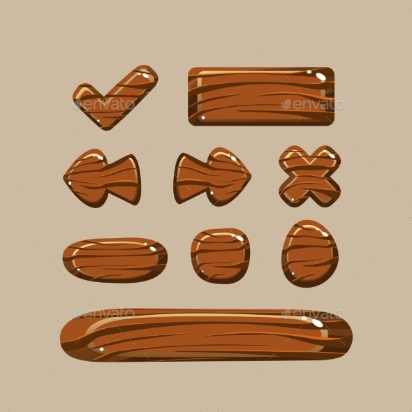 GraphicRiver Set Of Cartoon Wooden Buttons 11444159