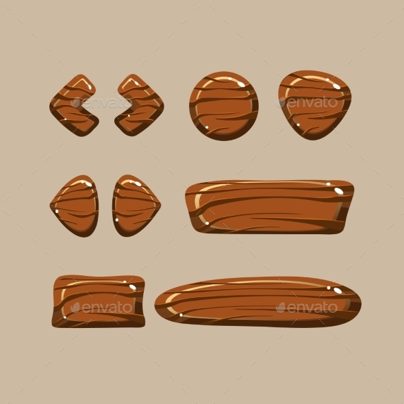 GraphicRiver Set Of Cartoon Wooden Buttons 11444163