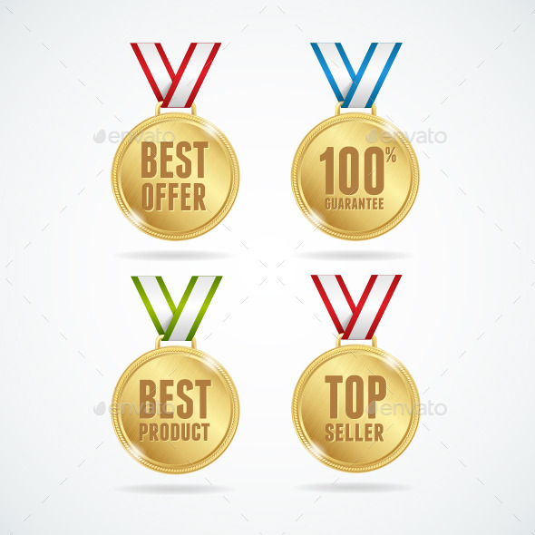 GraphicRiver Vector Set of Medals Sale Concept 11444192