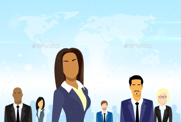GraphicRiver Business People Group Leader Diverse Team Vector 11444376