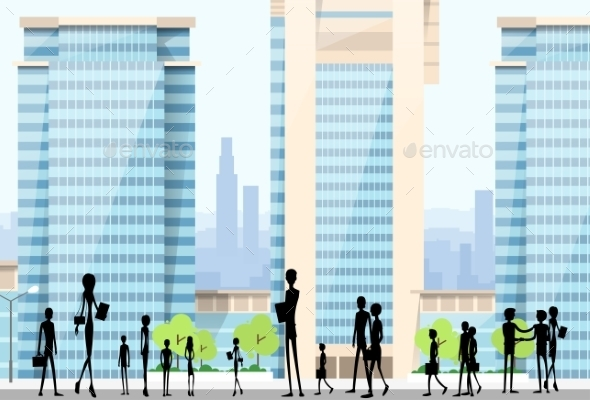 GraphicRiver People Silhouettes Crowd On City Street Modern 11444404