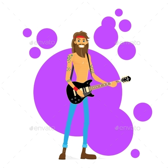 GraphicRiver Man Play Guitar Hippie With Beard Vector 11444421