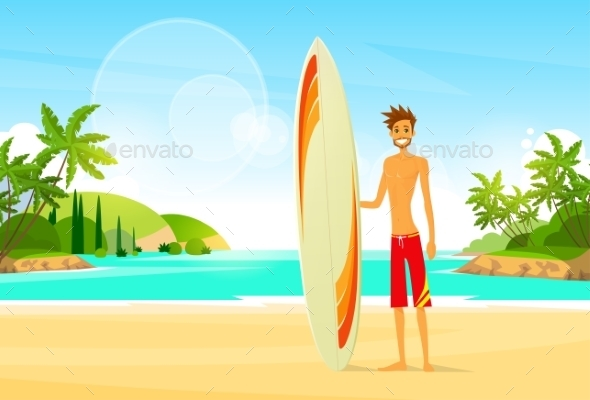 GraphicRiver Surfer Man With Surfing Board Palm Tree Summer 11444426