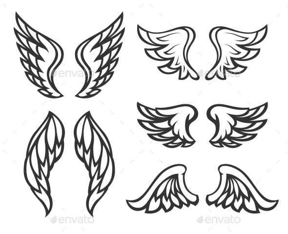 GraphicRiver Set of Wings Tattoo 11444427