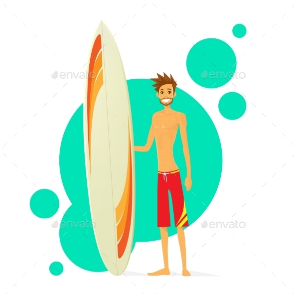 GraphicRiver Surfer Man With Surfing Board Flat Icon 11444429