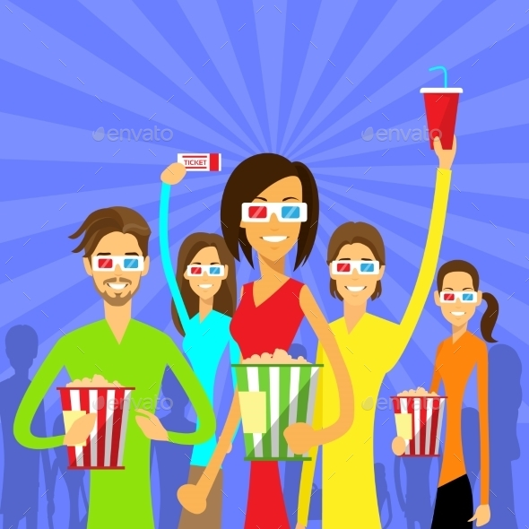 GraphicRiver People Group Watching Movie In Cinema 3D Glasses 11444442
