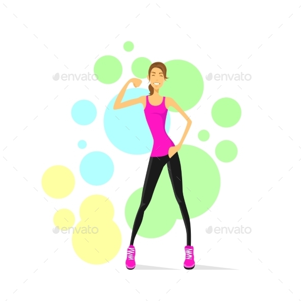 GraphicRiver Sport Woman Show Bicep Muscles Fitness Trainer 11444546