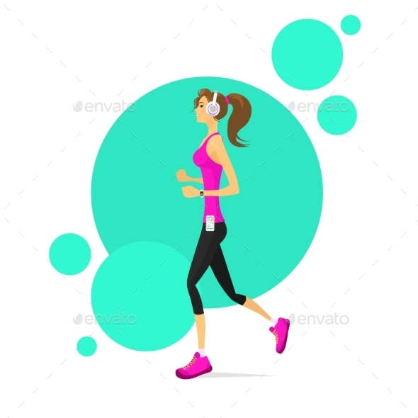 GraphicRiver Sport Woman Run With Fitness Tracker Girl Runner 11444547