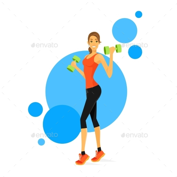 GraphicRiver Sport Woman Show Bicep Muscles Fitness Trainer 11444548