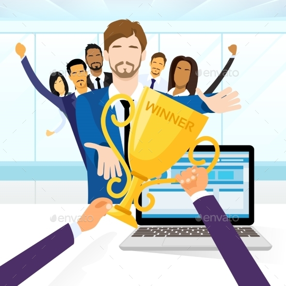 GraphicRiver Business Man Get Prize Winner Cup People 11444559