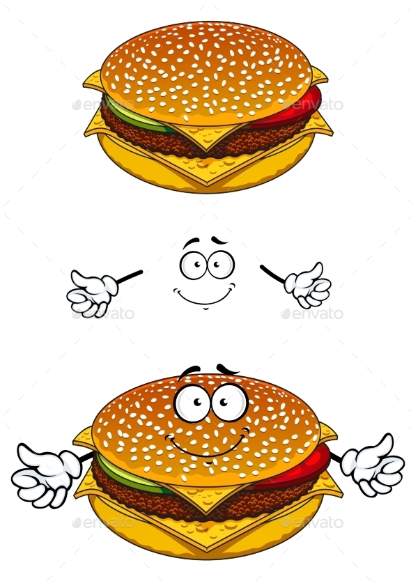 GraphicRiver Delicious Tasty Sesame Cheeseburger Character 11444595
