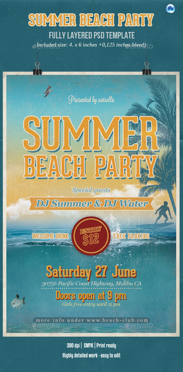 GraphicRiver Summer Beach Party Flyer 11444596