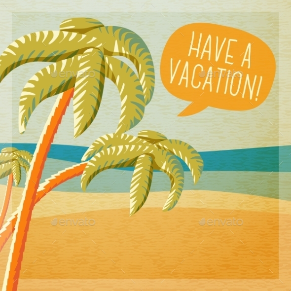 GraphicRiver Cute Summer Poster Beach With Palms And Ocean 11444598