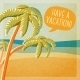 Cute Summer Poster - Beach With Palms And Ocean - GraphicRiver Item for Sale
