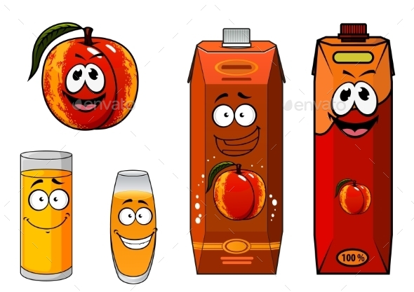 GraphicRiver Apricot Fruit And Juice Characters 11444654