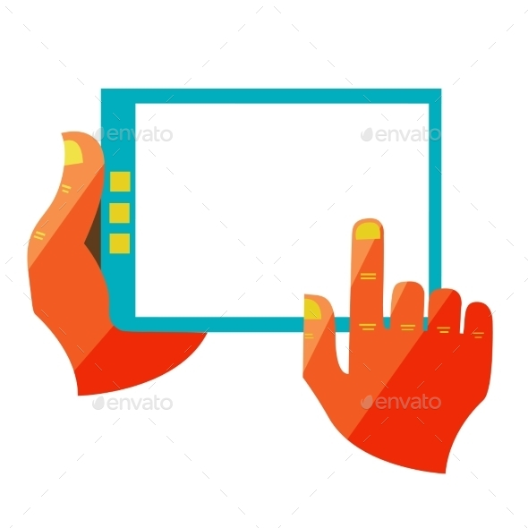 GraphicRiver Hand Touch Screen On Digital Tablet 11444665