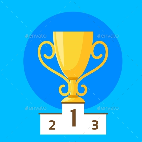GraphicRiver Winner Cup First Place Flat Design Vector 11444687