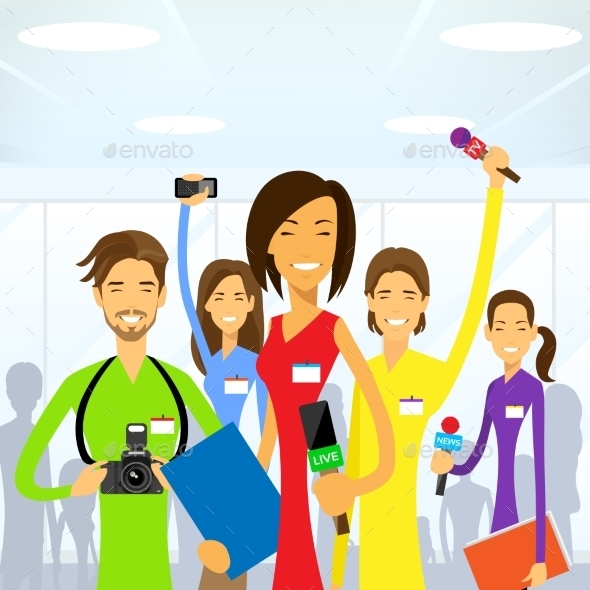GraphicRiver Journalists Crew Woman Reporter Eam Live News 11444725