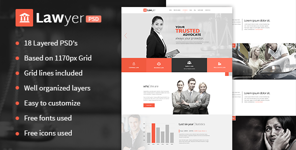 ThemeForest Lawyer PSD Template 11444741