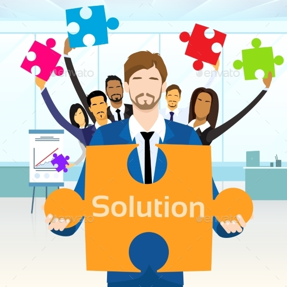 GraphicRiver Business People Group Hold Jigsaw Puzzle Piece 11444771