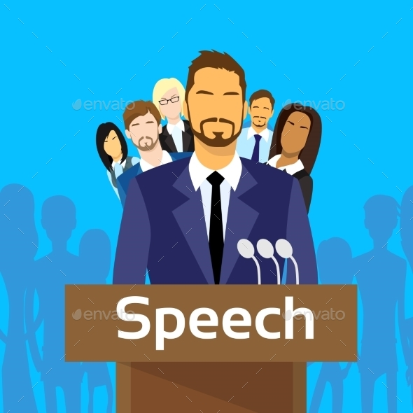 GraphicRiver Tribune Speech Businessman Politic With Team 11444870