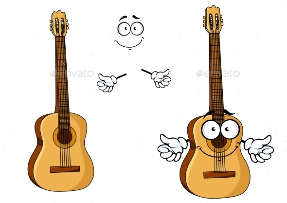 GraphicRiver Happy Cartoon Wooden Acoustic Guitar 11444873