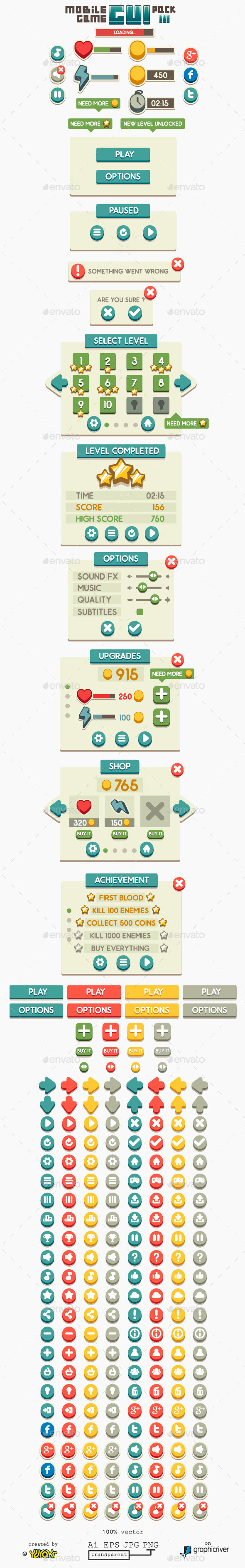 GraphicRiver Mobile Game GUI Pack 3 11444877