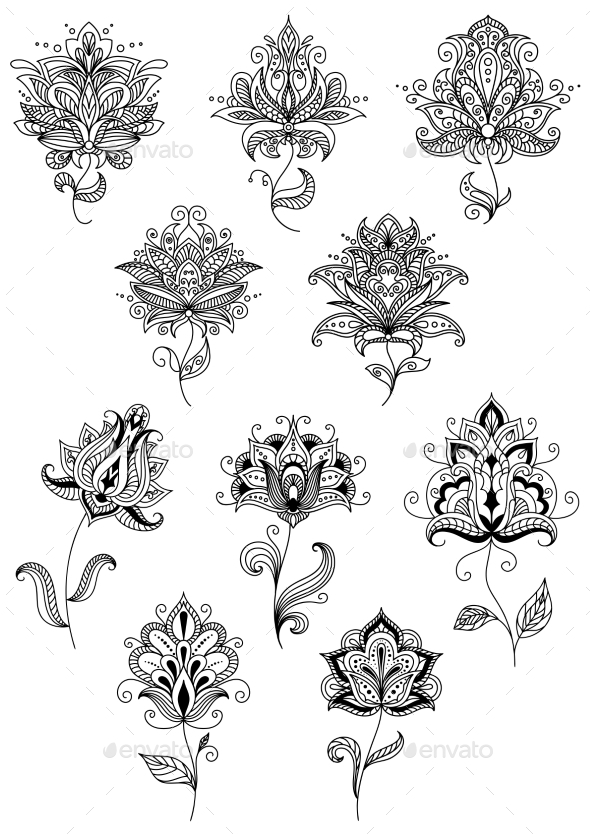 GraphicRiver Vintage Floral Paisley Elements And Blossoms 11444891