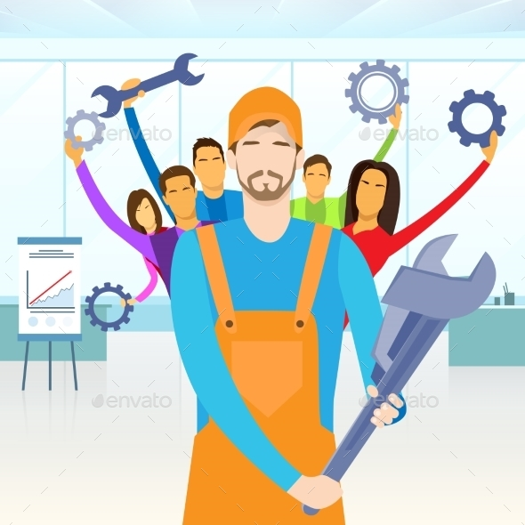 GraphicRiver People Group Service Technical Support Team Hold 11444895