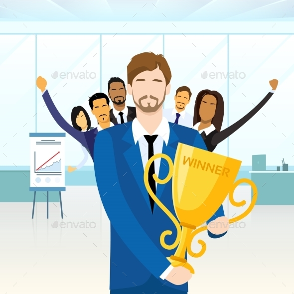 GraphicRiver Business Man Get Prize Winner Cup People 11444939