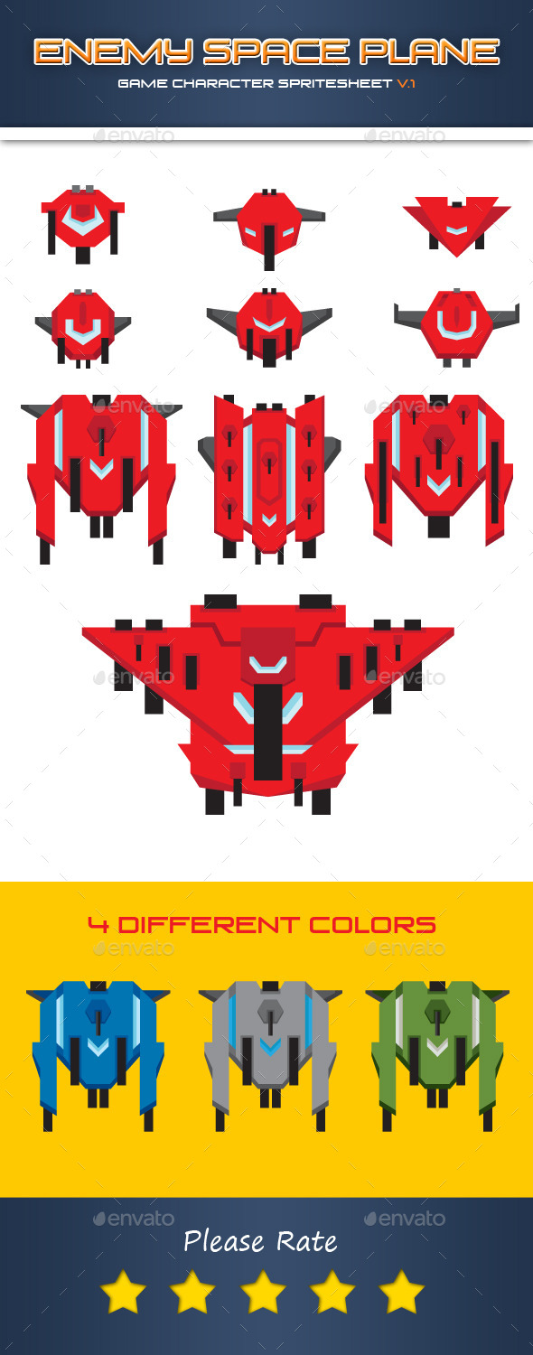 GraphicRiver Enemy Space Plane Character 11445046