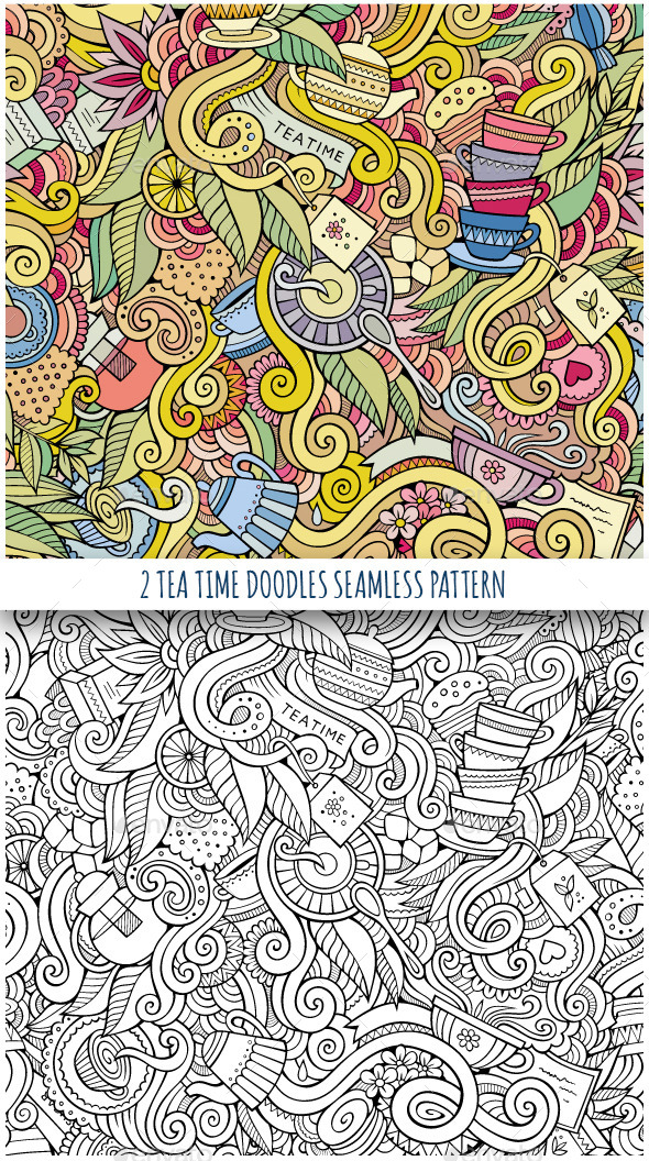 GraphicRiver 2 Tea Time Doodles Seamless Patterns 11445049