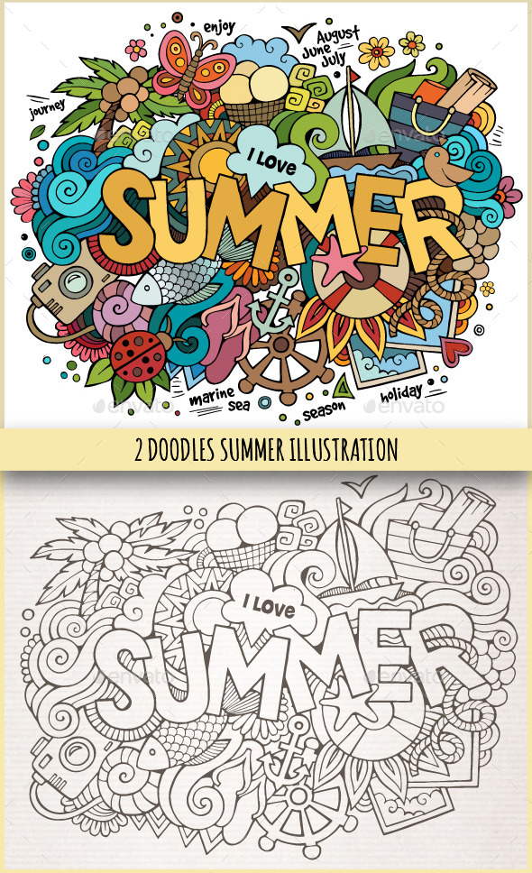 GraphicRiver 2 Summer Doodles Illustrations 11445116