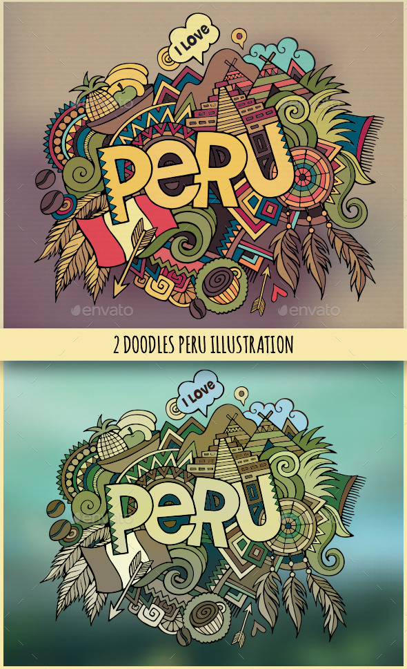 GraphicRiver 2 Peru Doodles Illustrations 11445142