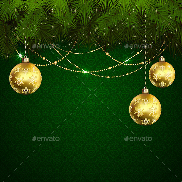 GraphicRiver Christmas Balls on Green Wallpaper 11445250