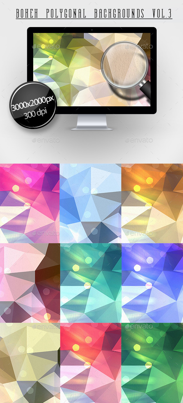 GraphicRiver Bokeh Polygonal Backgrounds Vol.3 11445313