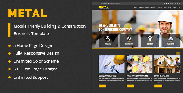 ThemeForest Metal Building & Construction Business Template 11445414